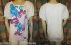 NWT LAURA SCOTT White EMBELLISHED FLOWERS Fall PEASANT Cotton SHORT SLEEVE Top