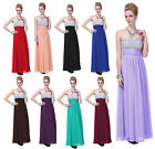 Formal Prom Dress Crystal Beaded Bridesmaid Wedding Party Long Evening Ball Gown