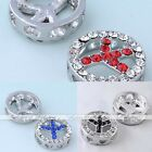 5pcs Clear Crystal Peace Sign Coin Button Beads Spacer Jewelry Makings Findings