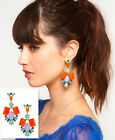 2Pcs Colorful Resin Drop Hollow Out Crystal Pendant Dangle Stud Earring
