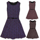 Girls Ditsy Floral Skater Dress Belted Kids Party Dresses New Age 7 - 13 Years