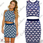 Womens Crop Top and Mini Tube Skirt Matching Celeb Bodycon Two Piece Party Dress