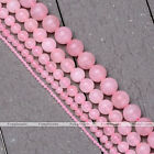 "2/4/6/8/10mm Natural Rose Quartz Round Loose Bead 15.5"" for Necklace Jewelry DIY"