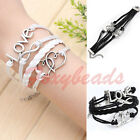 1X Infinity Love Double Heart Black White Leather Suede Multi Wrap Bracelet Gift