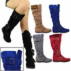 Black Flat Knee High Boots Adjustable Straps Suede Comfort Winter Women Shoes