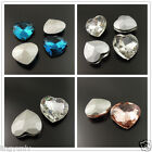 Heart Faceted Rhinestone Jewelry Finding Blue Pink Crystal Charms Vary Size