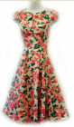 New H&R VTG 1940's 50's style Pink Roses Floral Rockabilly Party Prom Dress