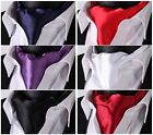 PA Solid 100%Silk Cravat Ties Casual Jacquard Woven Ascot