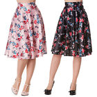 Hell Bunny Bow Bell Floral Rockabilly Vintage 50S Rock N Roll Jive Swing Skirt