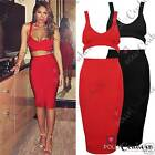 Womens Sleeveless Crop Bralet Bodycon Pencil Skirt Red Black Two-Piece Cut Out