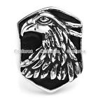 1x Punk Mens Stainless Steel Wild Eagle Shield Biker Finger Ring Gift Size 9-13