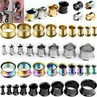 Stainless Steel Double Flare Ear Flesh Tunnels Plug Stretcher Expander Piercing