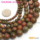 Natural Round Unakite Gemstone Jewelry Making Loose Beads Strand 15' Size Pick