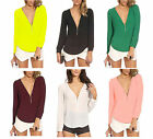 New Trends Zipper V-neck Casual Chiffon Long Sleeved Shirt Blouse Tops 6 Colors