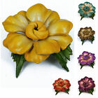 """Handmade"" Leather Flower Brooch Pin Vintage Anemone 2.75 in Choose Color eca2"