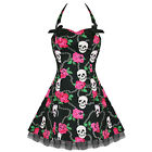 Hearts And Roses London Black Pink Skulls Gothic Emo Rockabilly Mini Party Dress
