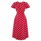 Hell Bunny Madden Red White Dot WW2 1940S Wartime Landgirl Victory Tea Dress