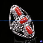 Solid 925 Sterling Silver Red Coral Ring Men's Jewelry