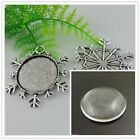 1-100Sets Antique Silver Alloy Snowflake Cameo Setting Fit Glass Pendant 25*25mm