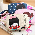 Korean Fan Japanese Girl Print Canvas Phone Bag Double Zipper Purse Coin Bag 58#