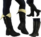 NEW WOMENS LADIES WARM WINTER BLACK COMBAT KNEE LENGTH BUCKLE BOOT SHOE SIZE 3-8