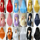 Hot Women Long Straight Hair Anime Cosplay Fashion Party Full Wig 10 Colors 80cm