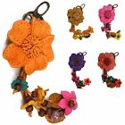 """Handmade"" Brushed Leather Flower Keychain Key Ring Bag Charm Rose Floral fga3"
