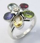 925 Silver Multicolor Gemstones New STAR Ring All Sizes