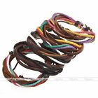 Mens Women Tribal Braided Woven Cow Leather Surfer Bracelet Wristband Cuff Gift