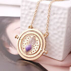Harry Potter Hermione Granger Rotating Time Turner Necklace Gold Hourglass 12ja