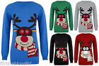 Unisex Christmas Jumpers Rudolph Reindeer Scarf Sweater Knitted Xmas Top S/M M/L