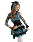 Young Girls Cute Zebra Dress Jacket Tween Animal Kids Halloween Costume Set S-M