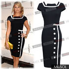 New Celeb Ladies Bodycon Pencil Black Cocktail Evening Party Dress Size 6 - 14