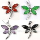 Silver Plated Gemstone Agate Jade Dragonfly Charm Pendant Bead For Necalace DIY