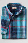 LANDS' END Men's S Icy Blue Plaid Short Sleeve Madras Shirt *NWT*
