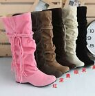 Women's Suede popular fashion fringed tip high boots casual 5 color
