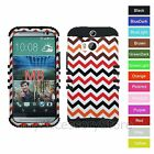 For HTC One M8 Gradient Chevron Design Hybrid Rugged Impact Phone Case Cover