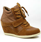 CAMEL BROWN HIGH TOP FASHION HIDDEN WEDGE SNEAKERS TRAINER ANKLE BOOT BOOTIE