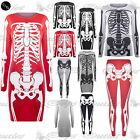Womens Jersey Skeleton Bones  Halloween LadiesBodycon Tunic T Shirt Dress Top