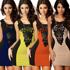 Womens Formal Party Embroidery Lace Cocktail Slim Bodycon Bandage Mini Dress 786