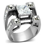 Stainless Steel Clear Princess Cut Cubic Zirconia Men's Fashion Ring Size 8-14