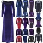 Womens Ladies 3/4 Sleeve Velvet Velour Flared Peplum Mini Bodycon Maxi Dress Top