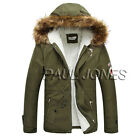 hOT VINTAGE Winter Warm Men Fur Collar Hooded Trench Winter Coats Winter JacketS
