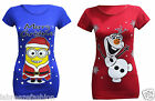 Ladies Women's Novelty Print Girls Christmas XMAS Vintage Retro Top