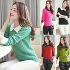 Women Peter Pan Collar Long Sleeve Casual Knitwear Blouse Pullover Sweater Tops