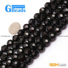 "Round Faceted Black Agate Onyx Loose Beads Strands 15"" 6-25mm for Jewelry Making"
