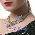 Coved by  500 Clear Swarovski Crystal Rhinestones Star Open Necklace / Tiara