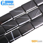 "Rectangle Natural Black Agate Loose Beads Gemstone Strands 15"" Jewelry Making"