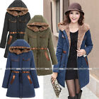 Women Winter Warm Fur Collar Down Cotton Hooded Long Coat Jacket Parka S-XXL HOT