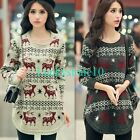 Retro Deer Women Round Neck Long Sleeve Knitted Blouse Sweater Pullover Jumper